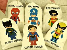 White+Cotton+Favor+Bags+Birthday+Super+Heroes+For+by+CharleysCache,+$14.00