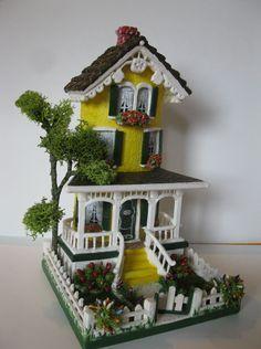Villa Merletto di Paola Verderio                                                                                                                                                      Más Miniature Crafts, Miniature Houses, Miniature Dolls, Tile Crafts, Clay Crafts, Diy And Crafts, Clay Fairy House, Fairy Garden Houses, Clay Houses