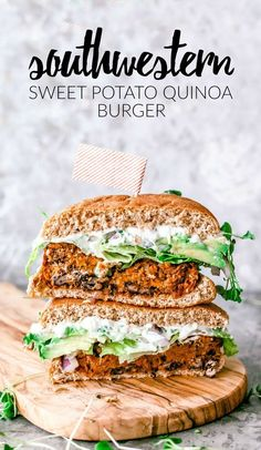 Southwestern Sweet Potato Quinoa Burger | Killing Thyme  This Southwestern Sweet Potato Quinoa Burger is easy to make and WON'T FALL APART! #veggieburger #vegetarian #sweetpotato #quinoa #healthy #burgers #southwestern #healthyrecipes