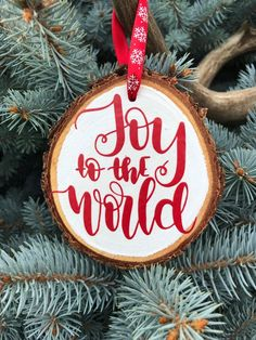 Wood Slice Christmas Ornament, Joy to the World Hand Crafted Wooden Slice Ornament, Rustic Christmas Rustic Christmas Ornaments, Wooden Ornaments, Christmas Crafts, Christmas Ideas, Wooden Slices, After Christmas, Merry Christmas, Joy To The World, Christmas Paintings