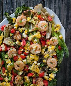 Grilled Hearts of Romaine Salad with Shrimp and Summer Fresh Veggies