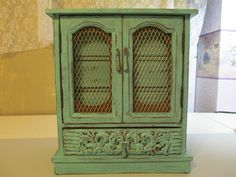 Vintage Upcycled Jewelry Box Turquoise with by MarysThriftstore