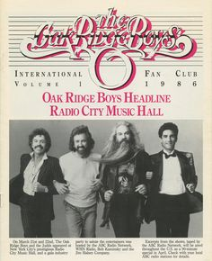 Front page of the ORBIFC Newsletter, have yours? Country Singers, Country Music, Richard Sterban, The Oak Ridge Boys, Radio City Music Hall, Entertaining, My Love, Celebrities, Vintage