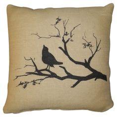 Bird Print Burlap Pillow.