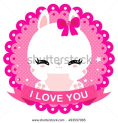 Cute little bunny on a gentle pink background. Newborn. Valentine's Day. Greeting card. I love you. Children design.