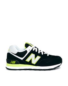 4199fd4f339 New Balance Black Lime Green Suede and Mesh 574 Trainers