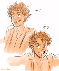 Diff interps of Leo's curly hair! #1 is actually more how curly I imagine Nico's (maybe slightly curlier than Nico's), and y'all know #2 is my default but I wanted to see 'em side by side