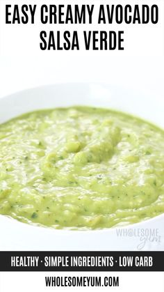 Creamy Tomatillo Salsa Verde Recipe - Learn how to make this EASY creamy tomatillo avocado salsa verde recipe. Just 20 minutes to prepare green avocado salsa (a. Authentic Mexican Recipes, Mexican Salsa Recipes, Green Salsa Recipes, Authentic Salsa Verde Recipe, Mexican Salsa Verde, Parsley Recipes, Tomatillo Recipes, Roasted Tomatillo Salsa, Tomatillo Salsa Verde