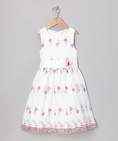 Another great find on #zulily! Pink & White Rosebud Embroidered Dress - Toddler & Girls by JC EDITION #zulilyfinds