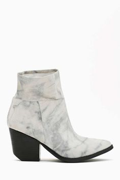 Jeffrey Campbell Roswell Ankle Boot - Gray Marble. Western-inspired gray marble ankle boots featuring a slouchy upper and chunky stacked black heel.