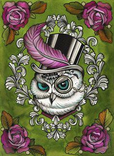 Victorian Owl in Top Hat -Tattoo flash / Steam Punk Watercolour A4 Art Print. £15.00, via Etsy.