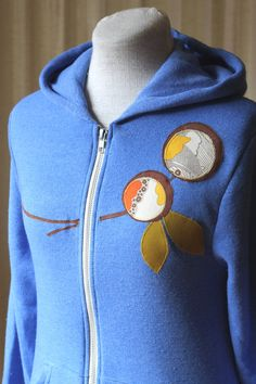NEW Mod Dots Hoodie, Heathered Cobalt, Applique, Small, Medium, Large and XLarge. $64.00, via Etsy.