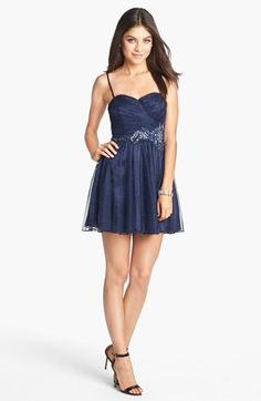 Trixxi Embellished Mesh Party Dress (Juniors) (Online Only) available at #Nordstrom pretty!!
