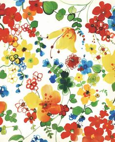 Colorful flowers printed heavy weight polyester viscose upholstery fabric-Half Yard