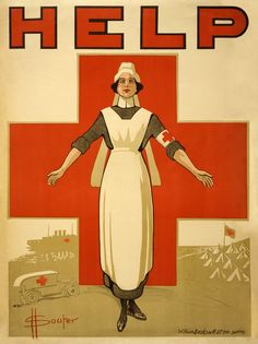 Red Cross recruiting poster for nurses at History of nursing, by David Henry Souter (edited by Durova and Steven Zhang)