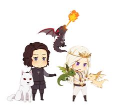 So cute! Daenerys and Jon and his mascots Ghost the direwolf, Drogon, Rhaegon and Vyserion the dragons :3