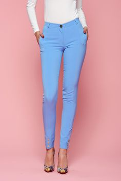 Comanda online, Pantaloni LaDonna Classic Style LightBlue. Articole masurate, calitate garantata! Spring New, Special Events, Sunnies, Classic Style, Capri Pants, Spandex, Collection, Fashion, Moda