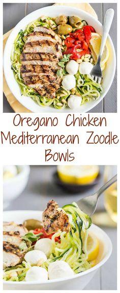Oregano Chicken Mediterranean Zucchini Noodle Bowls - Healthy and Delicious! #mediterraneandiet