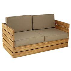 Sofá de madera de teca y poliéster MONTEVIDEO