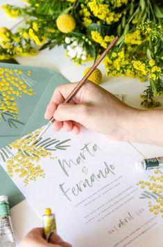 invitaciones de boda de verano con mimosas
