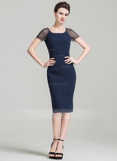 Sheath/Column Scoop Neck Knee-Length Mother of the Bride Dress With Beading (008080189)