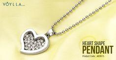 BOLD HEART SHAPE CZ EMBELLISHED PENDANT WITH CHAIN. Product Code :483915 #fashion #love #girls #festival #chain #heart #world #women #voylla