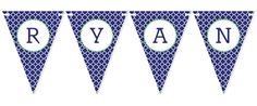 Navy & Green Quatrefoil Bunting. Perfect for kids parties, baby showers and weddings.