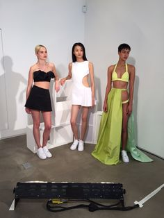 Caitlin Price presented cut-outs and trackies in couture fabrics on cool girls at Fashion East's SS16 London Fashion Week showcase