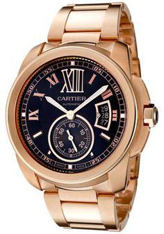 Cartier W7100040 Men's Caliber De Cartier Automatic Brown Dial 18K Rose Gold Watch #cartier #watch #gold very nice find www.shop.com/...