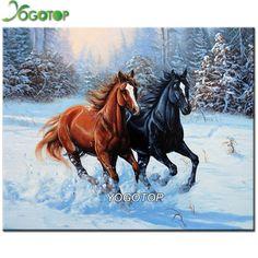 Neve dois cavalo quadrado strass Diamante Bordado 3d Diamante Diy Pintura Artesanato Embutimento Mosaico artesanato ponto cruz GT572