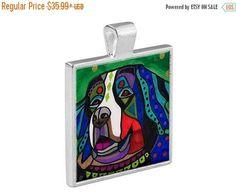 50% Off Today- Bernese Mountain Dog Folk Art Jewelry - Pendant Metal Gift Art Heather Galler Gift - Dog Lovers Pet Art Vegan Gifts