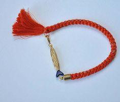 Orange Silk Bracelet With Tassel