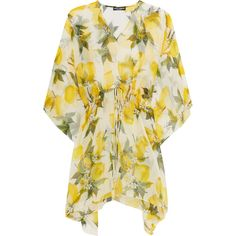 Dolce & Gabbana Printed silk-chiffon kaftan (€770) ❤ liked on Polyvore featuring tops, tunics, dresses, dolce & gabbana, yellow, kaftan tops, colorful tunics, yellow top, loose fitting tops and flounce tops
