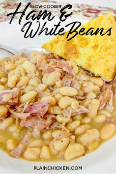 Slow Cooker Ham & White Beans – our favorite way to use our leftover holiday ham! Only 3 ingredients – ham, onion, and dried great northern beans. Cover with water and cook. Serve with some homemade cornbread. Comfort food at its best! Crockpot Ham And Beans, Crockpot Dishes, Crock Pot Slow Cooker, Crock Pot Cooking, Slow Cooker Recipes, Cooking Recipes, Crockpot Recipes, Best Ham And Beans Recipe, Locarb Recipes
