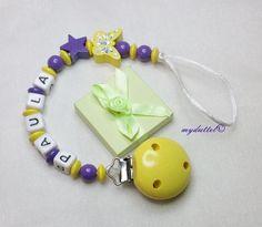 Schnullerkette Name Schmetterling Stern Baby md337 von myduttel auf DaWanda.com