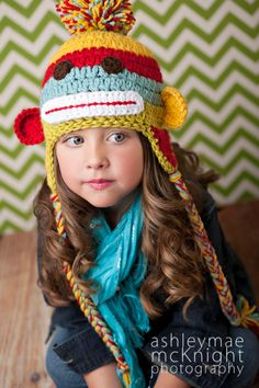 Crochet Striped Sock Monkey Hat. $28.00, via Etsy.