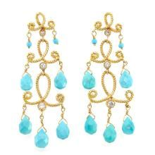 Pair of Gold, Turquoise and Simulated Diamond Pendant-Earrings