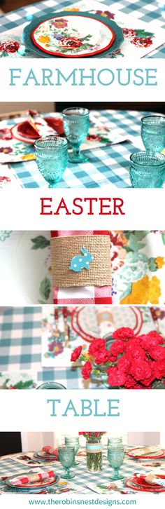 Come on in and see our Farmhouse Easter Table at The Robin's Nest Designs. It is simple but colorful with a touch of Easter!