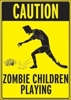 Caution Zombie Children Playing Magnet 29960H:    After printing a high resolution image, the manufacturer then laminates thepicture and pulls it around all 4 edges of a hard cardboard backing. It is thenglued down on the back where it meets a hard magnet which covers about 95% ofits back.The edges are all rounded for a smooth feel, and because of all the material,the magnet should sit about 1/8-1/4 of an inch off any surface.