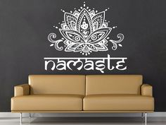Mandala Wall Decal Namaste Flower Mandala Indian Lotus Yoga Wall Decals Vinyl Sticker Interior Home Decor Art Wall Decor Bedroom SV6277