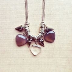 Delicate Necklace with Brown and Transparent Gemstone Hearts and Spikes. Silver plated chain length: approx. 25.6 inches / 65cm.    Length of the
