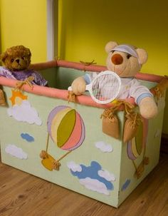 Caixa de brinquedos de papelão e feltro! | Artesanato & Humor de Mulher