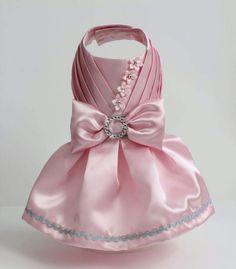 Baby Pink Satin Dog Dress size Small by MaxMilian on Etsy Yorkie Clothes, Pet Clothes, Dog Clothing, Pet Fashion, Animal Fashion, Dog Clothes Patterns, Dog Wedding, Girl And Dog, Dog Costumes
