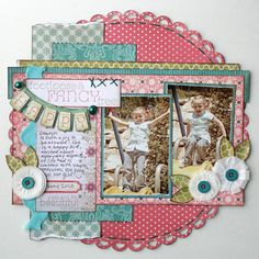 Two Vertical Photos LO - Jana Eubanks....love the layered papers Stella and rose scrapbooking page layout