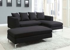 Incroyable Black Sectional Sofa Black Sectional, Small Sectional Sofa, Fabric  Sectional, Modern Sectional,