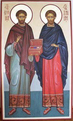 Damian by Damir Mladenovic Byzantine Icons, Byzantine Art, Road To Emmaus, Church Icon, Catholic Saints, Orthodox Icons, Prayers, Religion, Pilgrims