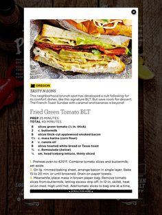 Tale of Two Portlands: Fried Green Tomato BLT from Tasty N Sons in Oregon ~ Good Housekeeping, August 2015.
