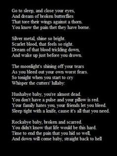 Sad poem about depression. After reading the end it will make you stop. If you have depression think of it as a crime