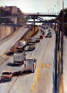 ImageTolgate 2 - Freeway série - 120 x 80 cm City Sketch, South African Artists, Virtual Art, Cool Art, Awesome Art, Z Arts, City Streets, Urban Landscape, Contemporary Paintings