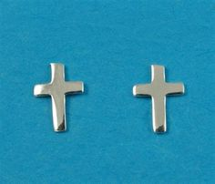 £8.00 incl tax  Sterling silver cross design stud earrings.  Approx 8mm long. Cross Designs, Sterling Silver Cross, Kissing, Gate, Stud Earrings, Jewelry, Jewlery, Portal, Jewerly
